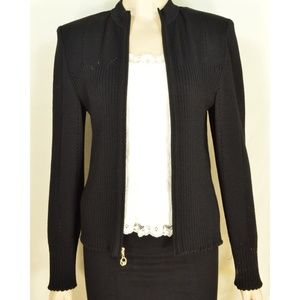 St John Sport Marie Gray jacket M black zipper fro